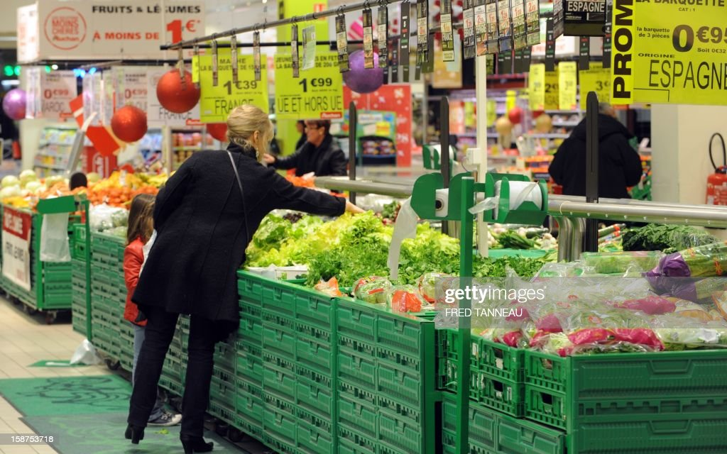 A woman does her shopping in a supermarket Auchan on December 27, 2012 in Saint-Sebastien-sur-Loire, western France. AFP PHOTO / FRED TANNEAU