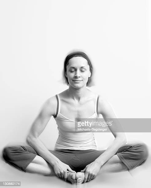 Woman does yoga