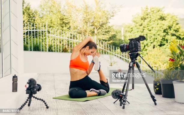 Woman doing an exercise vlog