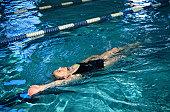 Woman Doing Backstroke in Swimming Pool