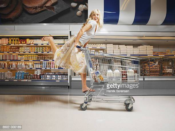 Woman Doing Ballet with Cart