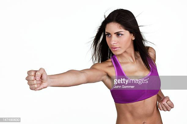Woman doing cardio or boxing