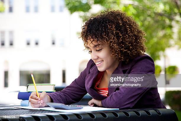 Woman doing her homework