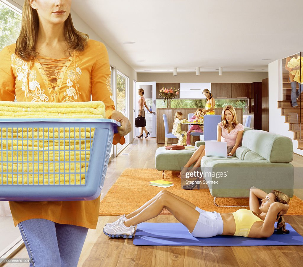 Woman doing household chores (Digital Composite) : Stock Photo