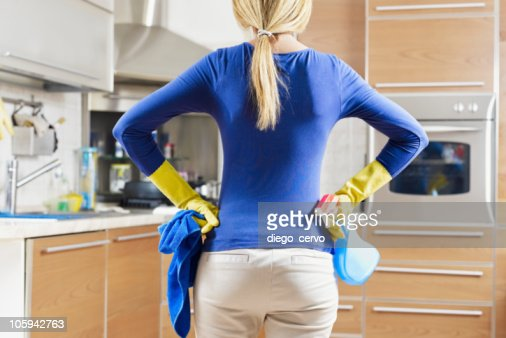 woman doing housekeeping : Stock Photo