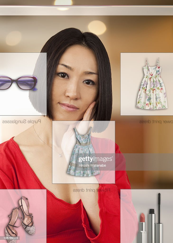 Woman doing on line shopping : Stock Photo