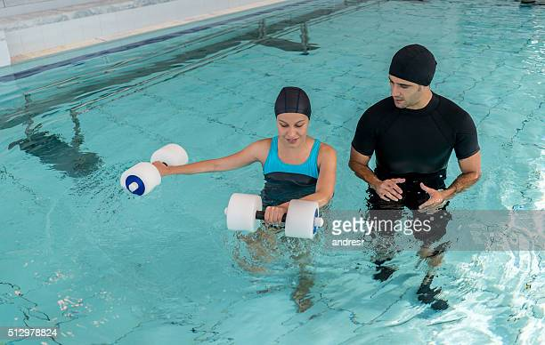 Woman doing physical therapy in the water
