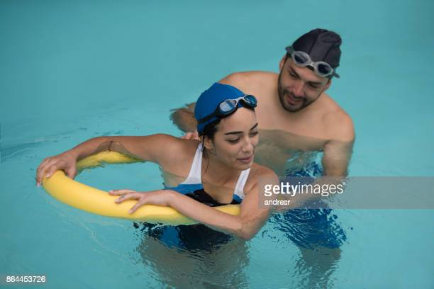 Woman doing physiotherapy in the water