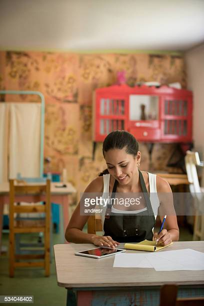 Woman doing the books at her small business