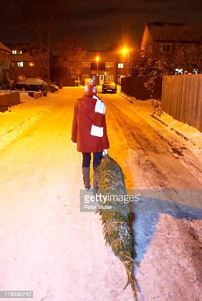 Woman dragging christmas tree at night