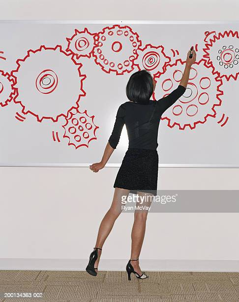 Woman drawing cogs on whiteboard, rear view