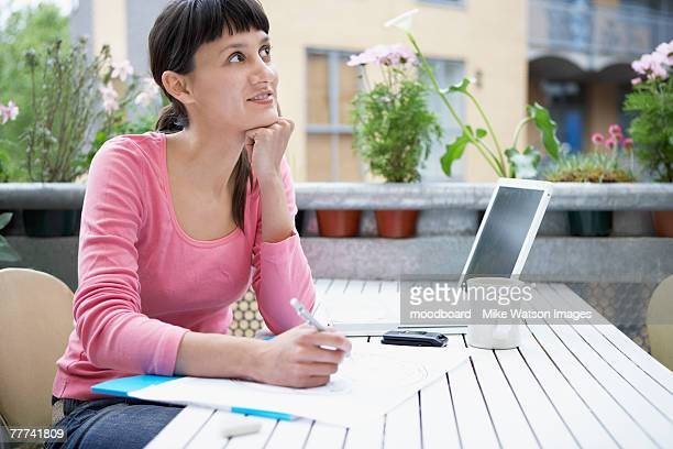 Woman Drawing Outside