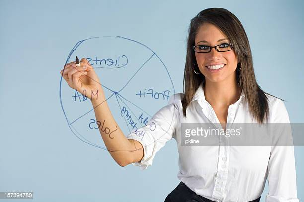 Woman drawing pie chart