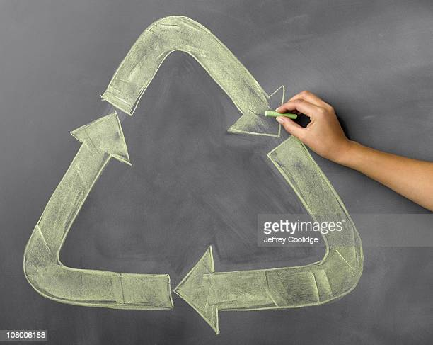Woman drawing Recycle Symbol