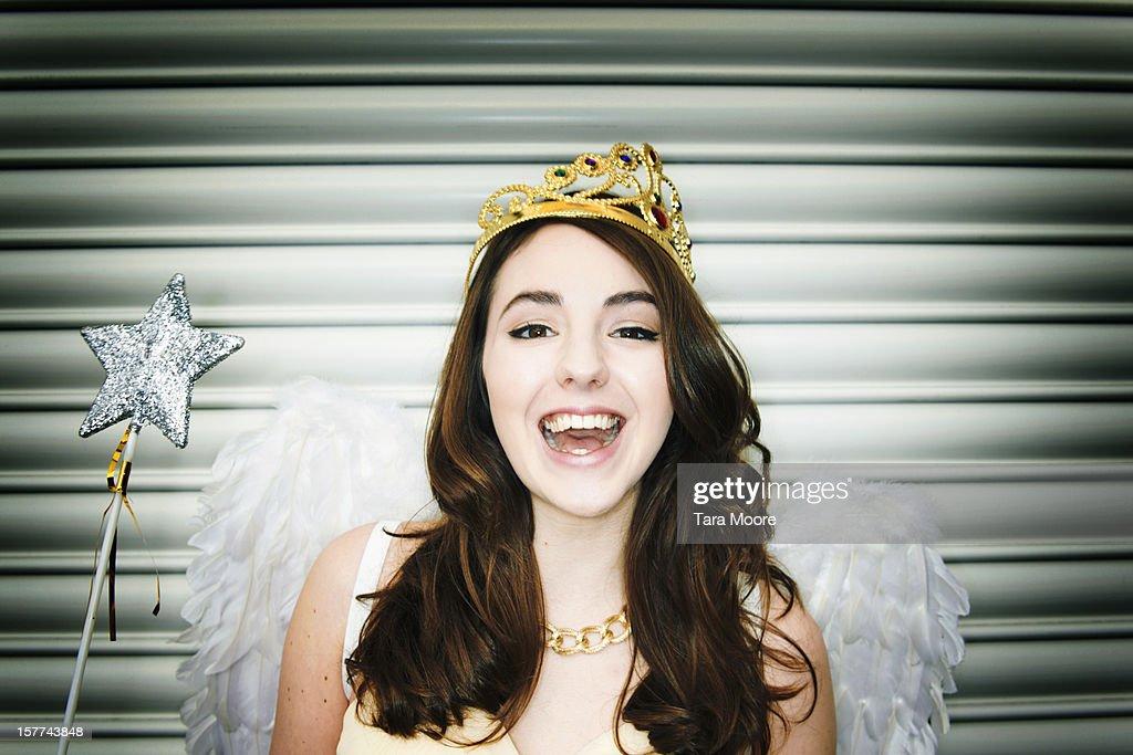 woman dressed as fancy dress  fairy smiling