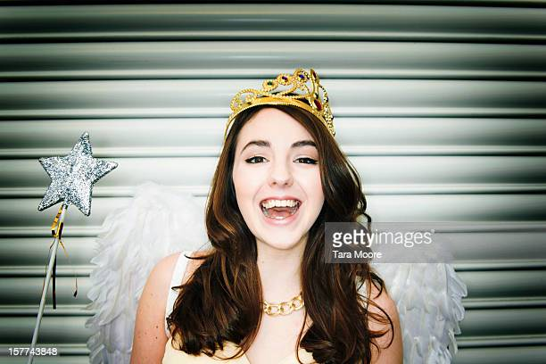 woman dressed as fancy dress  fairy smiling