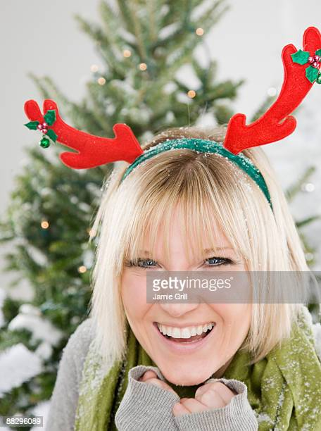 Woman dressed for snow at Christmas