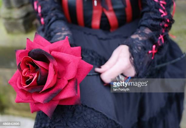 A woman dressed in Victoriana clothing holds a red rose during the Goth weekend on April 26 2014 in Whitby England The Whitby Goth weekend began in...