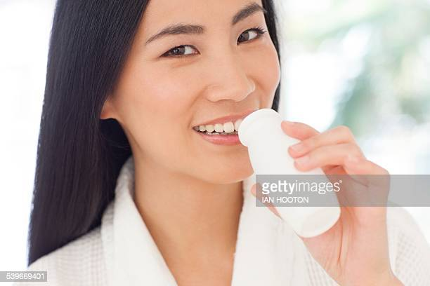 Woman drinking health drink