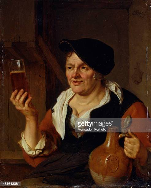 Woman Drinking some Beer by Ary de Vois 1660 1680 17th Century oil on copper 24 x 20 cm Italy Lombardy Milan Castello Sforzesco Civic Collections of...