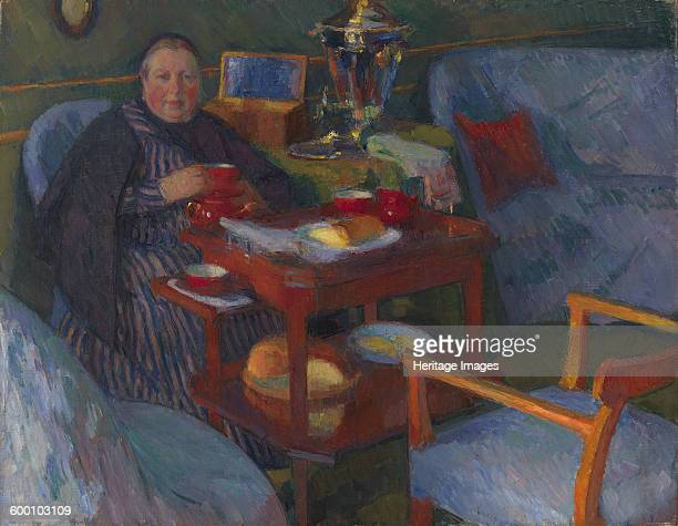 Woman drinking tea Private Collection Artist Braz Osip Emmanuilovich