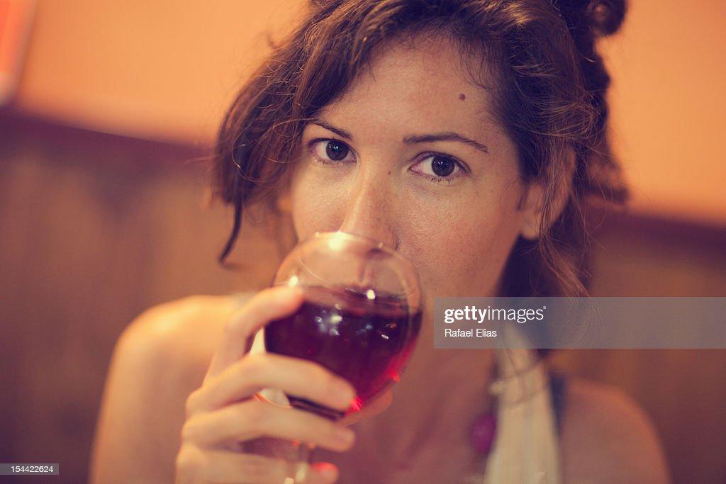 Woman drinking wine : Stock Photo