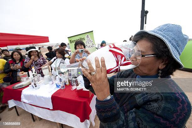 A woman drinks the national cocktail of Peru pisco sour during the 2012 Dakar Rally's Stage 11 in Tacna Peru on January 12 2012 AFP PHOTO/MARTIN...