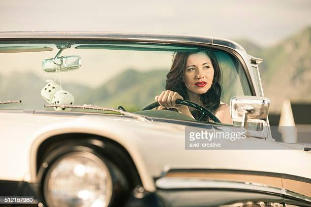 Woman Driving Classic 1950s Car