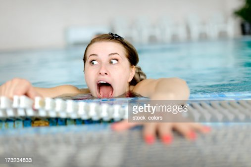woman drowning