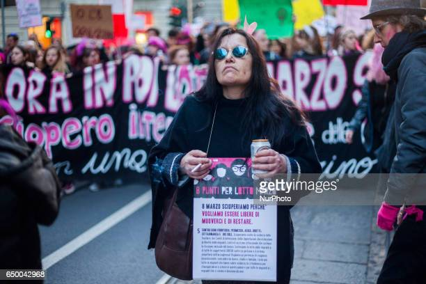 A woman during a rally as part of a nationwide 'Lotto Marzo' protest on the International Women's Day 2017 in Torino Italy on March 8 2017