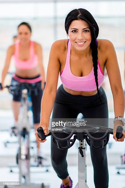Woman during spinning class