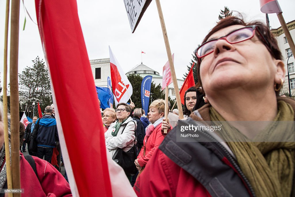 A woman during International Workers' Day parade in Warsaw on May 1, 2016.