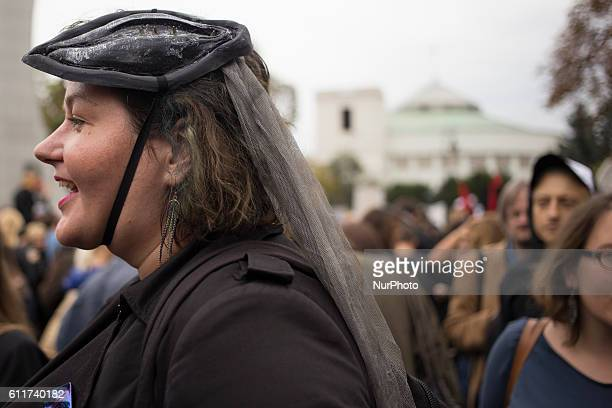 A woman during protest against new Abortion Law near the Polish parliament in Warsaw on October 1 2016
