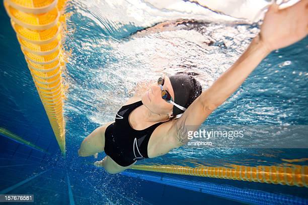 woman during swim training