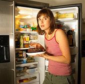 Woman eating cake