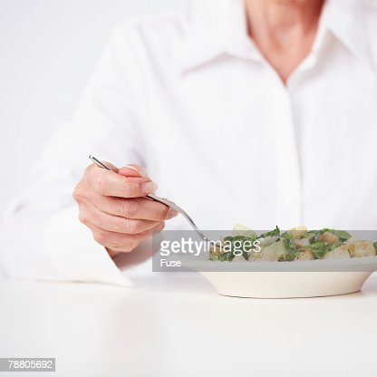 Woman Eating Salad : Stock Photo
