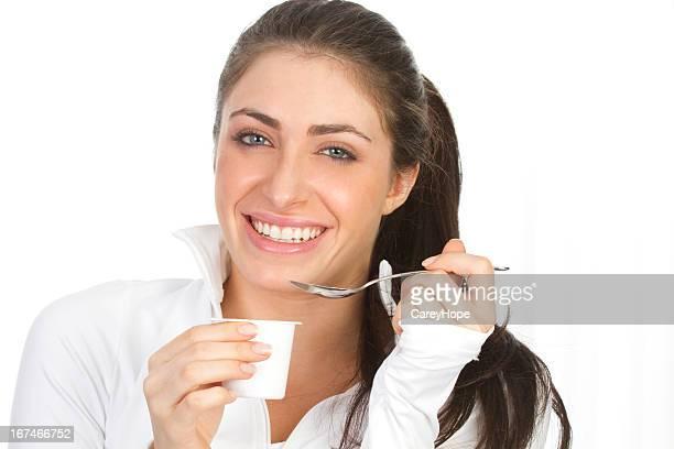 Frau Essen Joghurt