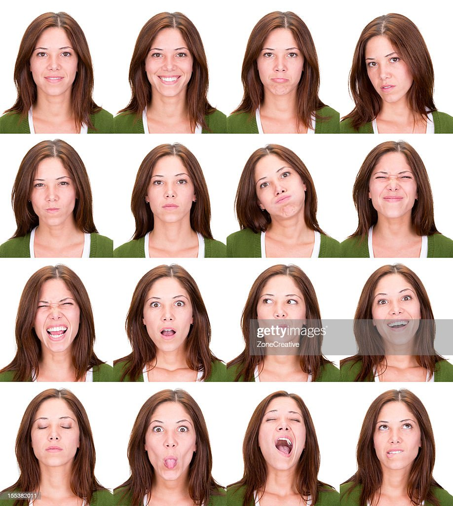 woman emotion expression collection set white background