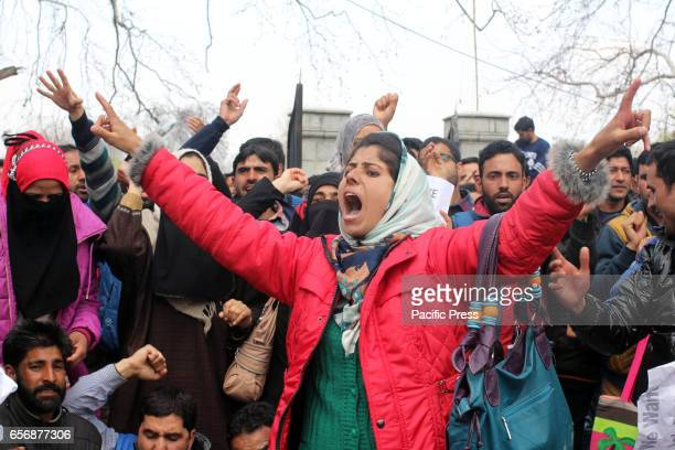 A woman employee of Saakshar Bharat Mission shouting slogans during the protest against the government on Thursday March 23 2017 in Indian Controlled...