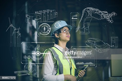 woman engineer and various business information. : Stock Photo