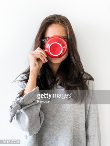 Woman enjoy morning coffee : Stock Photo