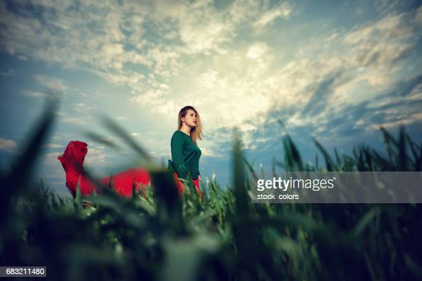 woman enjoy sunset time in nature