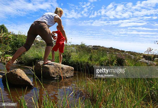 Woman enjoy with her son at Aubrac in France