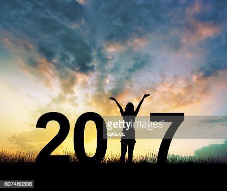 woman Enjoying and 2017 years while celebrating new year : Stock Photo
