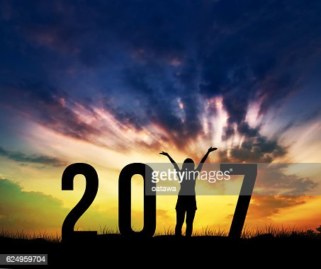 woman Enjoying and 2017 years while celebrating new year : Stock Photo