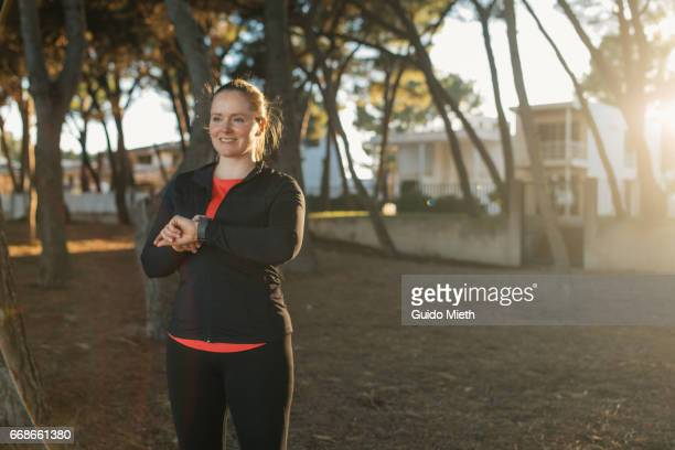 Woman enjoying break after workout.