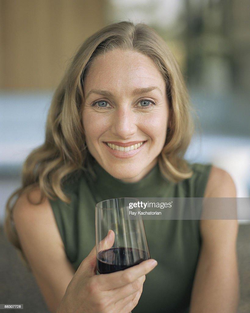 Woman Enjoying Glass of wine : Stock Photo