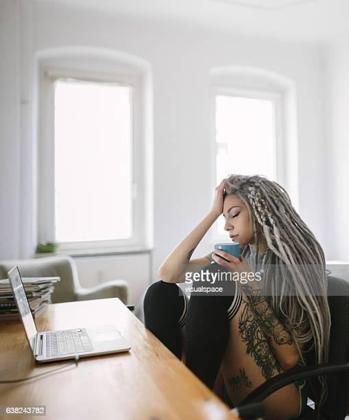 Woman Enjoying her Morning Coffee