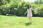 Woman enjoying in nature