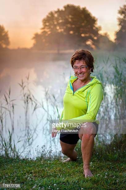 Woman enjoying morning exercises
